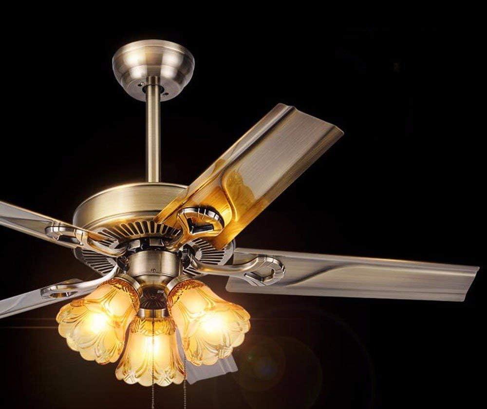 ZY * Ventilador de techo con lámpara Dormitorio Restaurantes Ventilador de techo de estilo retro y lámparas de iluminación con ventilador y faroles Diámetro 106 cm Hoja de hierro Lámpara marrón