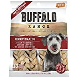 Buffalo Range Rawhide Dog Treats | Healthy, Grass-Fed Buffalo Jerky Raw Hide Chews | Hickory Smoked Flavor | Jerky Braid, 10 Count
