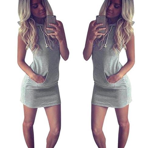 Tomatoa Damen Kleider Frauen Mode Sommer Beiläufiges Sleeveless Mit Kapuze  Kleid Lose Rock Kleid (S 3b80308220