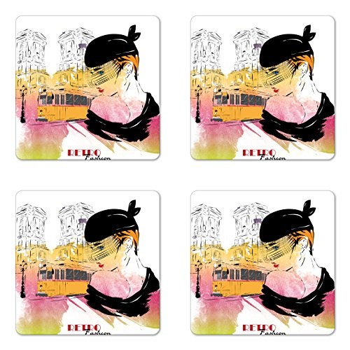Girls Coaster Set of Four by Ambesonne, Lady with Vintage Hat Posing in front of Tramway Sketch Retro Romantic Art, Square Hardboard Gloss Coasters for Drinks, Orange Pink Black Square Tramway