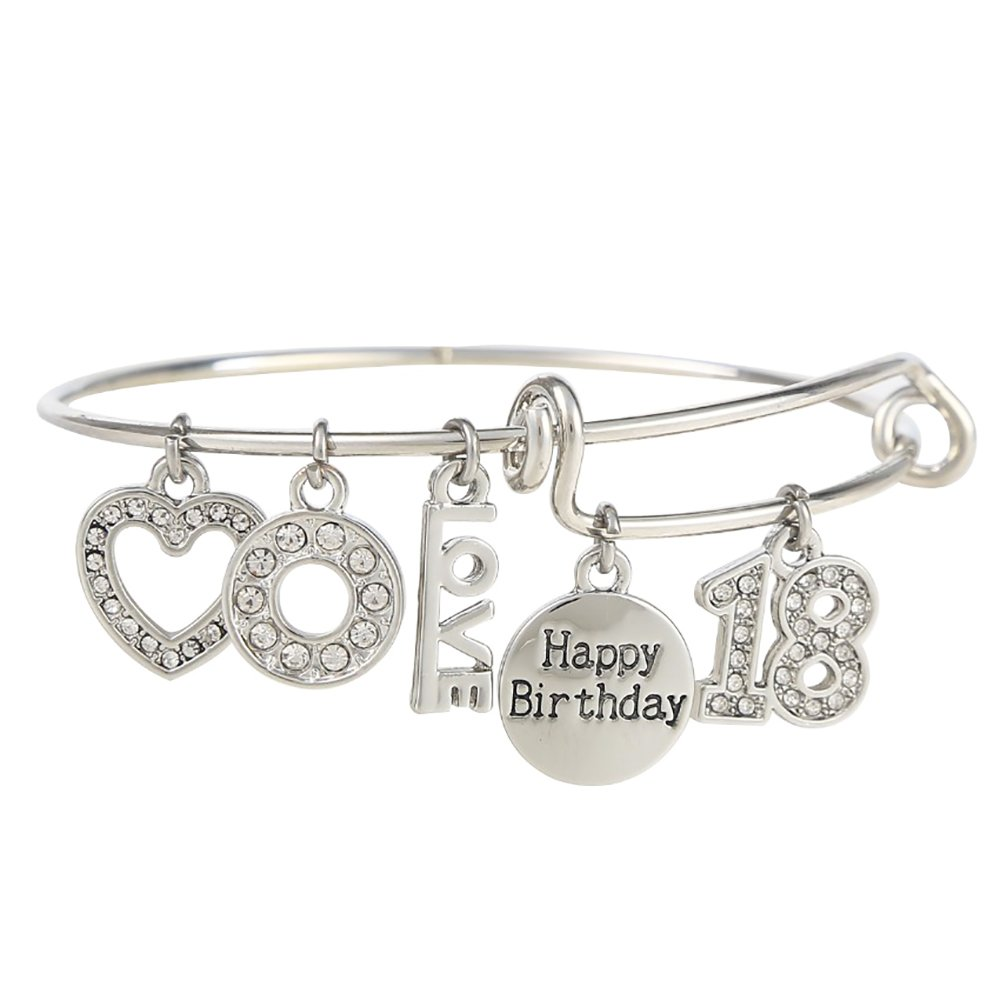 """18 Happy Birthday"" Expandable Engraved Charm Pendant Bangle Adjustable Bracelet, Comes With A Gift Box Ruinasi"