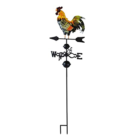 Wind Wheel Garden Stake with Rooster Ornament 48 in Metal Weather Vane