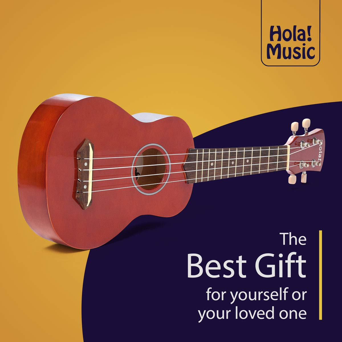 Hola! Music HM-21MG Soprano Ukulele Bundle with Canvas Tote Bag, Strap and Picks, Color Series - Mahogany by Hola! Music (Image #4)