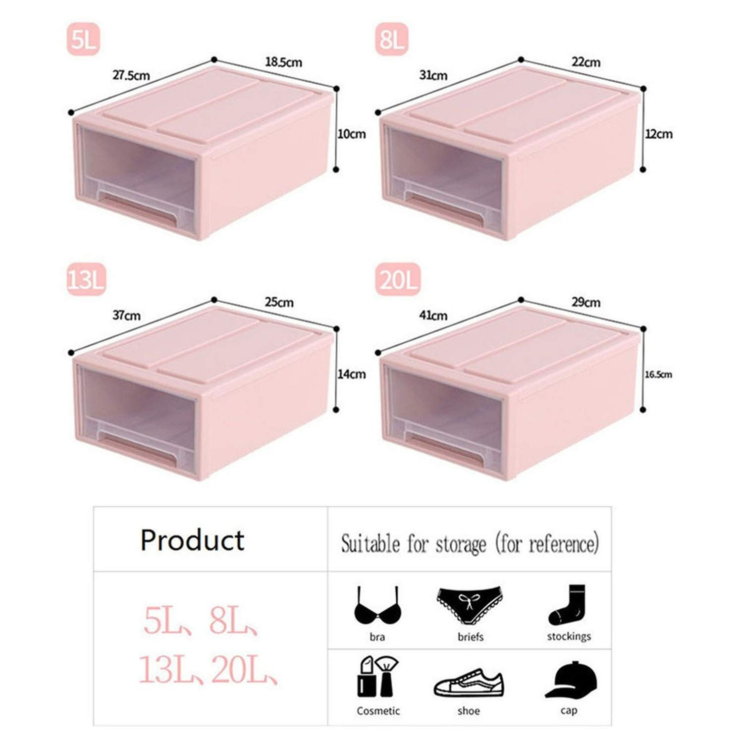 Amazon.com : Pp Storage Container Drawer Plastic Style ...