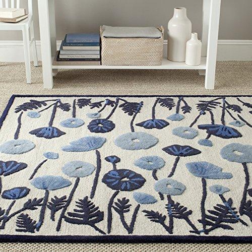 Martha Safavieh Stewart Wool (Safavieh Martha Stewart Collection MSR3627A Premium Wool and Viscose Poppy Glossary Azurite Blue Area Rug (9'6