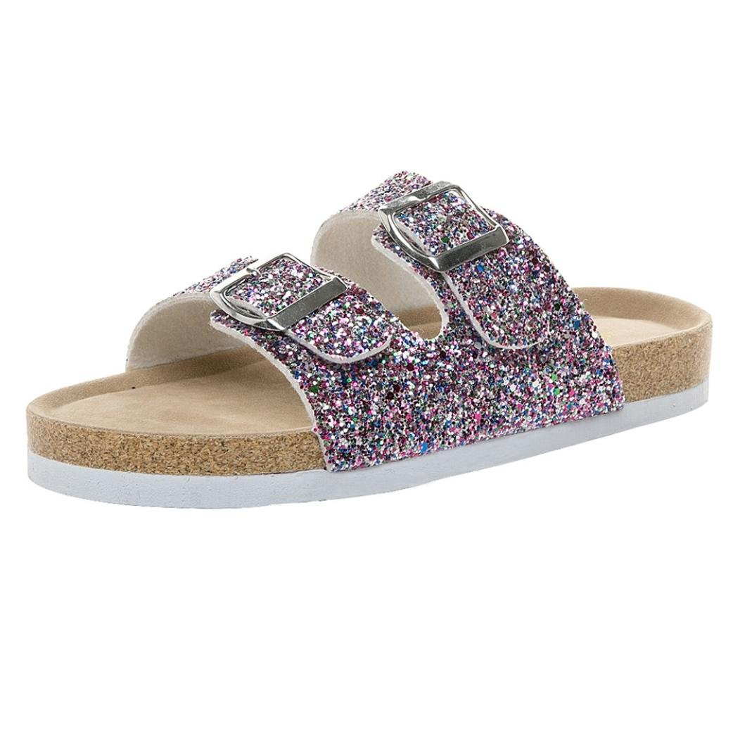 vermers Womens Flat Sandals - Cross Toe Double Buckle Strap Sparkle Glitter Slip On Casual Sandals Beach Shoes(US:7, Purple)