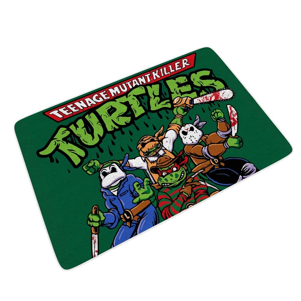 Dyinayychen-Mat Four Turtles Dust Trapper Quickly Absorb Doormat for Entry Ninja Turtle Theme White 16x24 inch