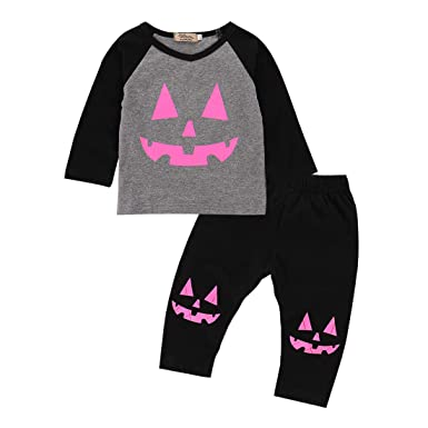 62d5671fa Amazon.com  2 Pcs Baby Girl Infant Toddler Halloween Outfit Pumpkin ...