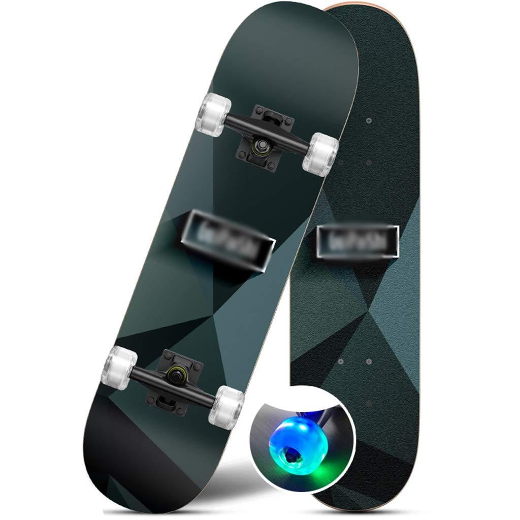 完全なスケートボードプロフェッショナルスケートボードダブルサイドパートンカラフルなライトスケートボードスタンダードスケートボード凹面デッキ4車輪青少年に適した大人子供女の子男の子初心者 E