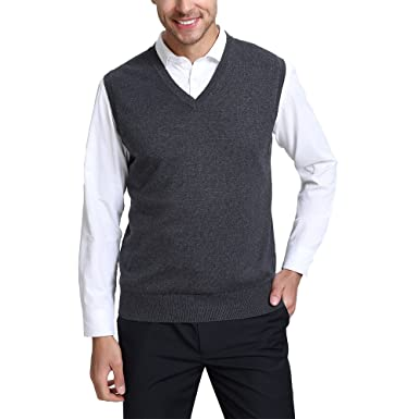 Kallspin Men s Relax Fit V-Neck Vest Knit Sweater Cashmere Wool Blend 9e1d555da