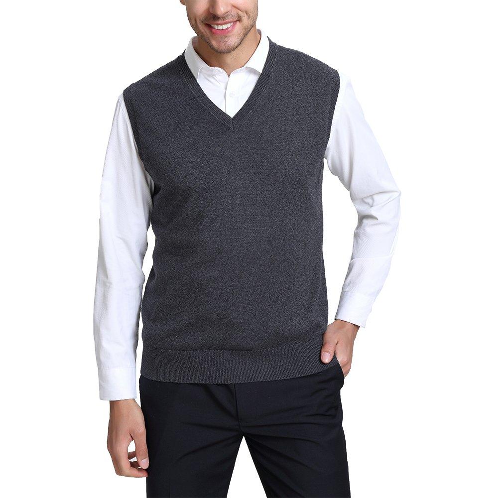Kallspin Men's Relax Fit V-Neck Vest Knit Sweater Cashmere Wool Blend Charcoal, L