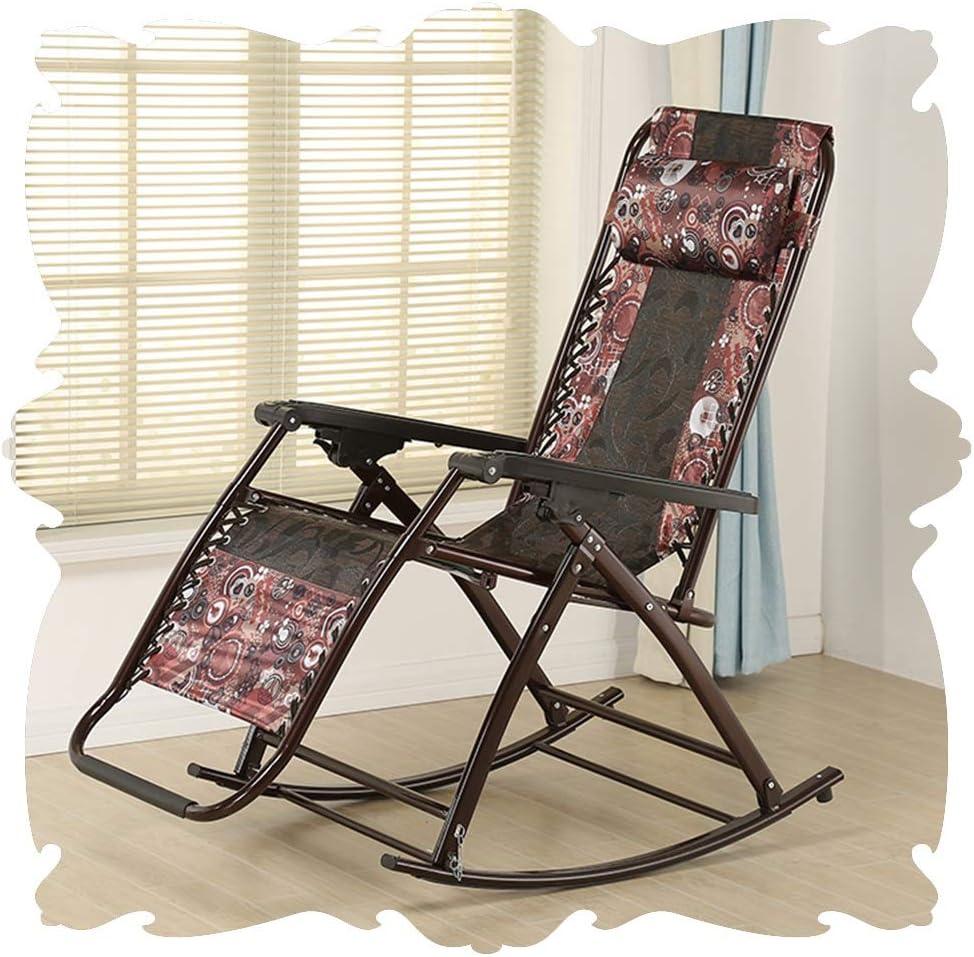 LIXIONG Fauteuil à bascule Tous les temps Chaise longue Cadre en aluminium Chaises longues Pliant Les fauteuils avec/amovible Oreiller pour camping pêche, 6 style (Color : B) F