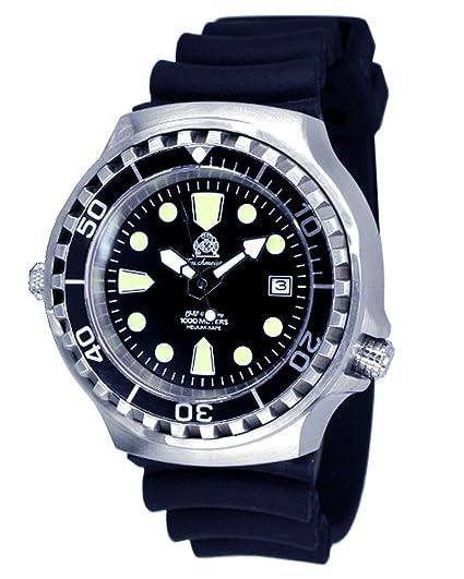 Profi de buceo- Reloj m. funcionamiento automático cristal de zafiro con válvula de helium de Tauchmeister T0046: Amazon.es: Relojes