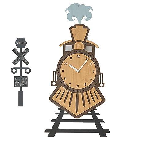 Little Train Habitación para niños Cute Mute Digital Creative Reloj de Pared Sala de Estar Habitación