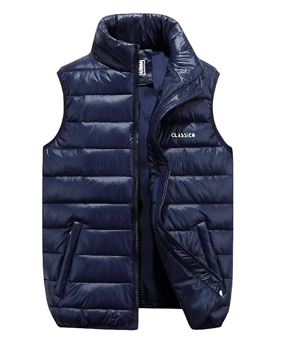 Cromoncent Mens Sleeveless Stand Collar Quilted Thick Down Jacket Coat Vest