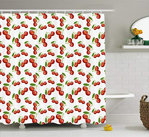 Ambesonne Fruit Cutting Board, Cherry Pattern Design Fresh Berry Fruit Summer Garden Macro Digital Print, Decorative Tempered Glass Cutting and Serving Board, Small Size, Red Green and White