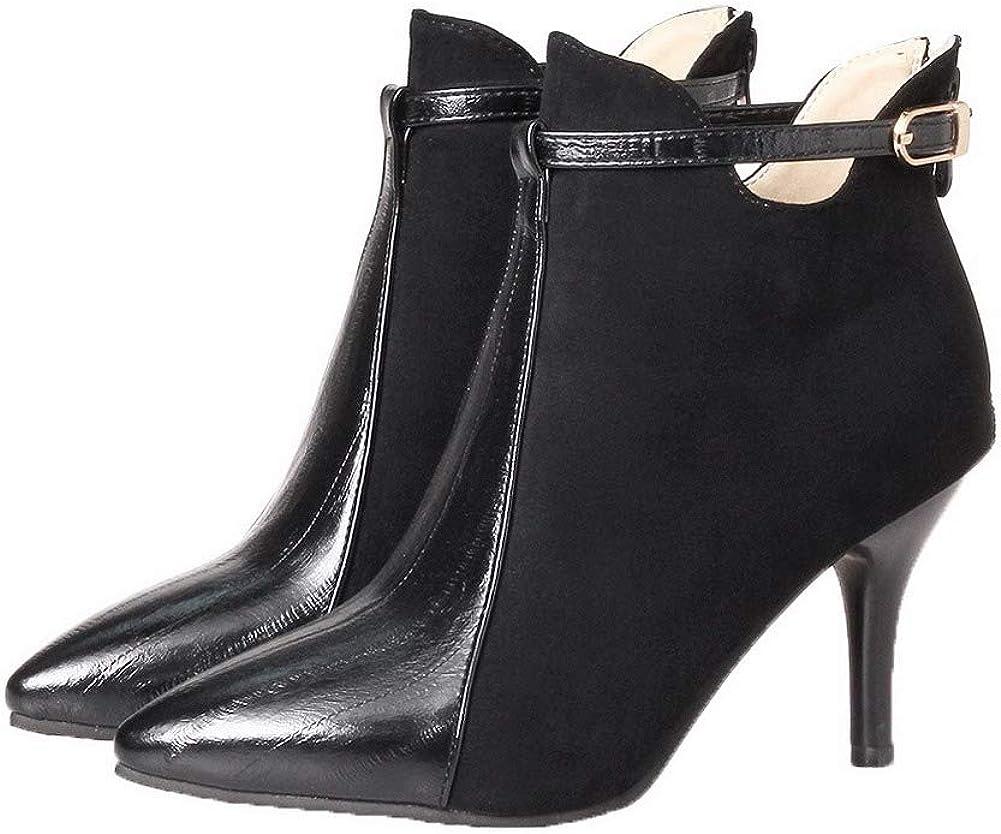 BUSXT111683 AmoonyFashion Womens Zipper Closed-Toe High-Heels Blend Materials Boots