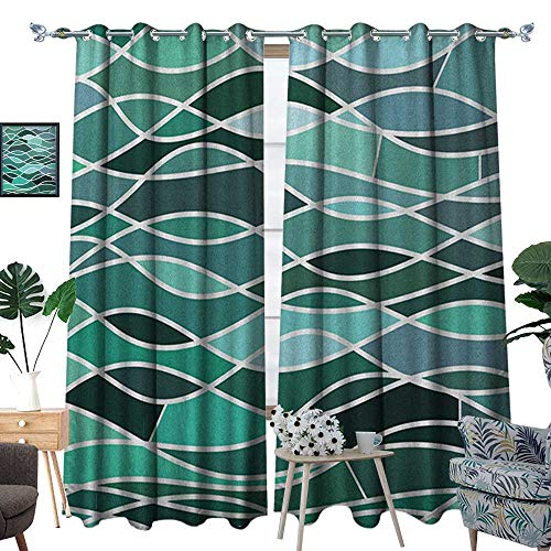 Stained Glass Cowboy - Warm Family Seafoam Thermal Insulating Blackout Curtain Stained Glass Pattern with Wavy Lines and Mosaic Abstract Geometric Composition Patterned Drape for Glass Door W72 x L108 Multicolor