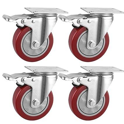 75MM Roulette Pivotante 4 pi/èce 100mm Roulettes pour Meubles avec Frein Capacit/é de 480 lb Rouge