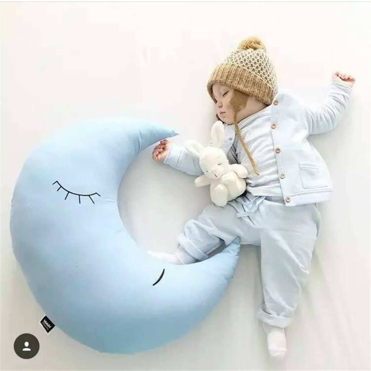 A-cool Crescent Moon Shape Stuffed Toy Throw Pillow Cushion -Office Sofa Couch Car Seat Home Decorative Nursing Pillow (40CM/15.75, Blue)