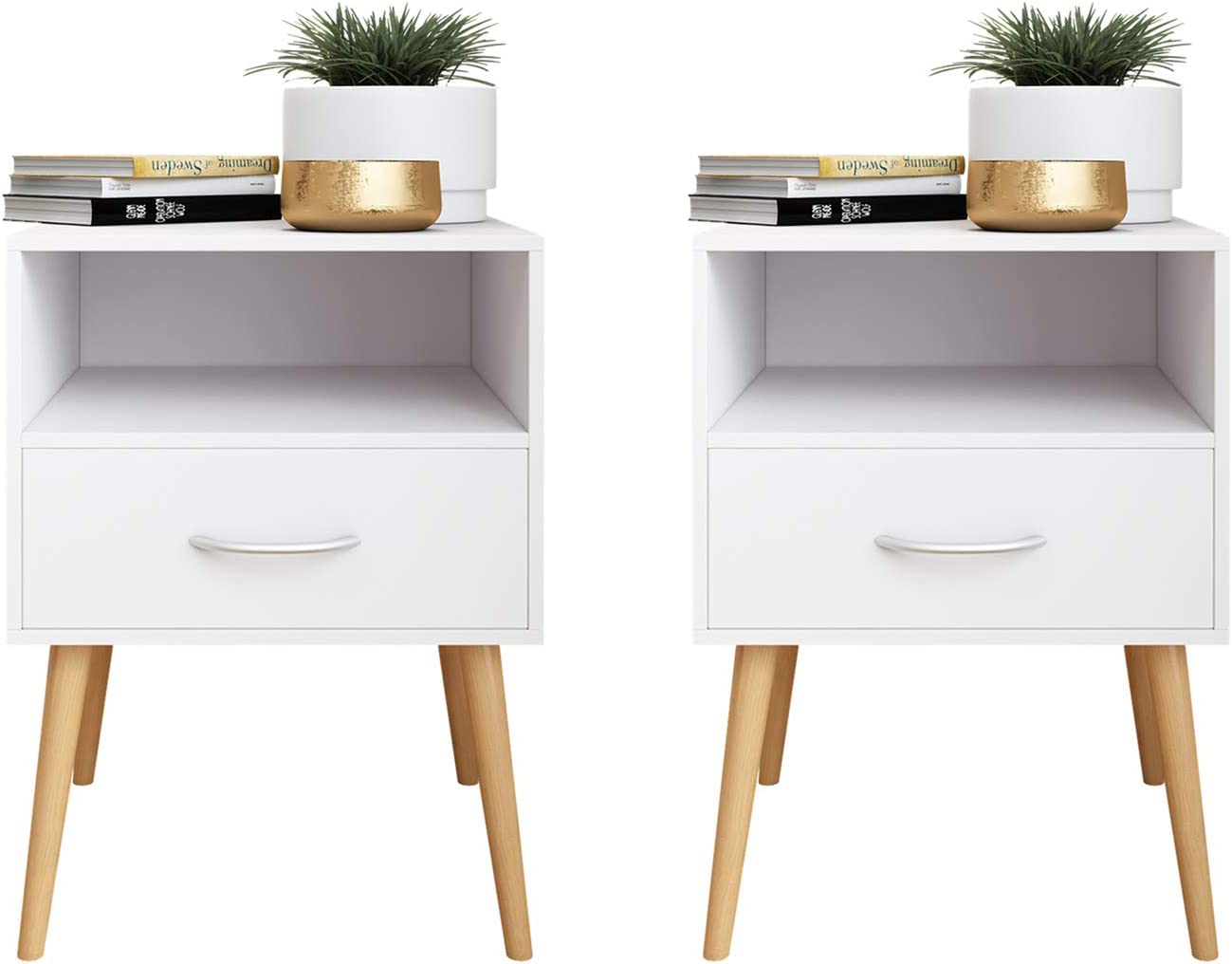 Beliwin Bedside Table One Drawer Storage Wood Small Side Table End Table  (white-8)
