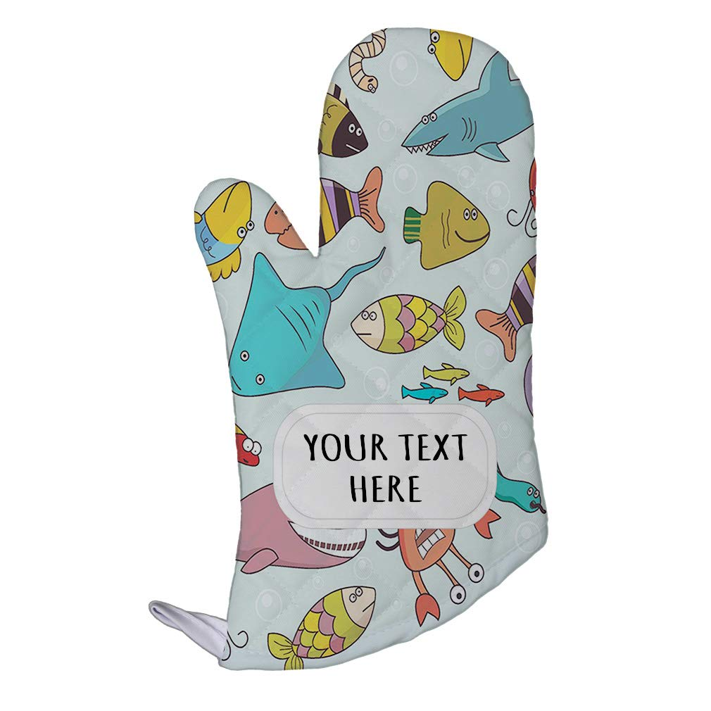 Style In Print Polyester Oven Mitt Custom Underwater Wildlife Fish Pattern A Adults Kitchen Mittens