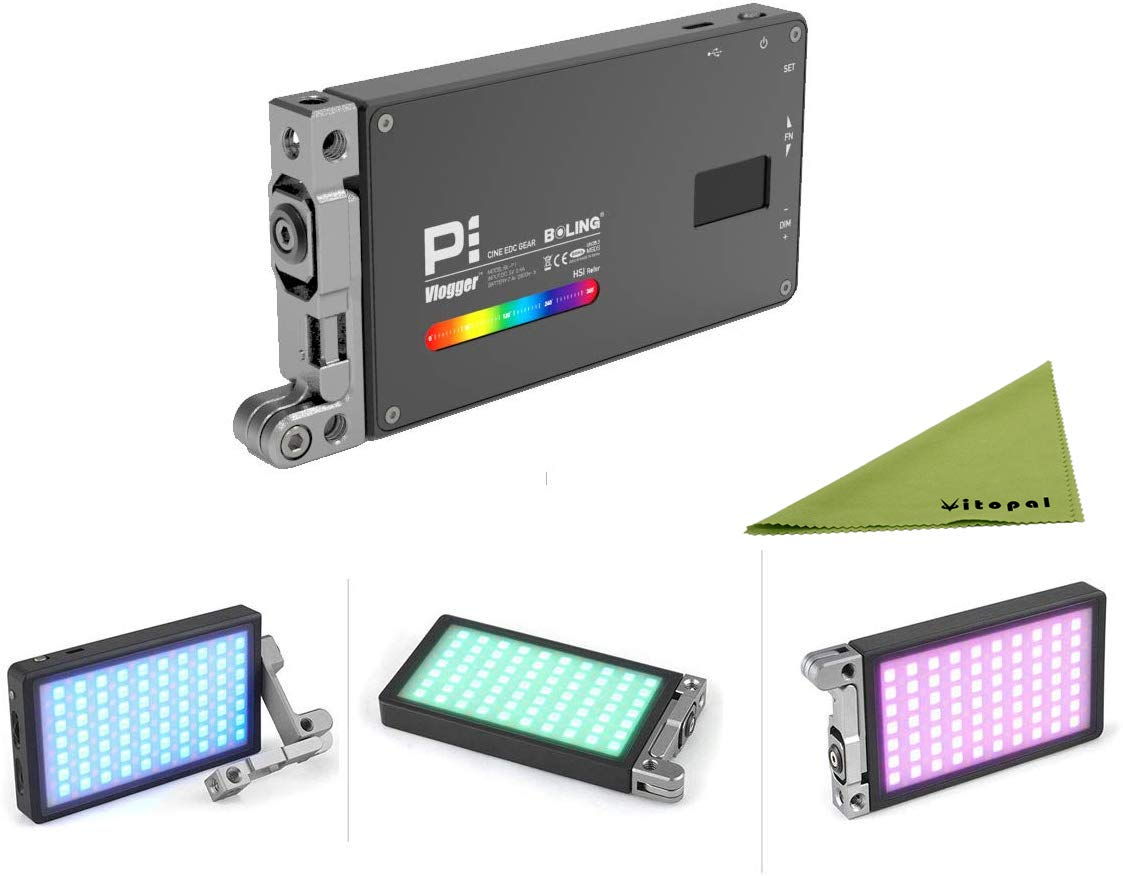 Boling BL-P1 12W RGB Full Color Dimmable 2500-8500K On-Camera Led Video Light with OLED Screen, 360° Support System by Vitopal