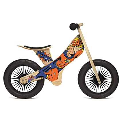 amazon com kinderfeets retro wooden balance bike superhero toys rh amazon com Wooden Balance Bikes for Toddlers Wooden Pedal Cycle