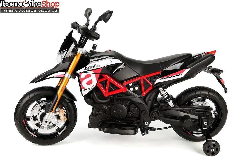 Tecnobike Shop Moto Elettrica per Bambini Motocicletta Piaggio Aprilia Racing Dorsoduro 12V Luci Suoni LED Ruote in Gomma Eva (Nero)
