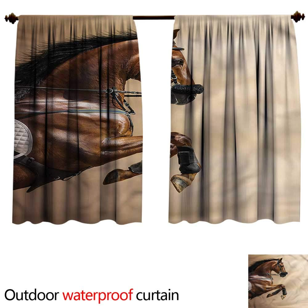 color14 W108\ color14 W108\ BlountDecor UPF Outdoor curtainAnti-Water W108 x L72(274cm x 196cm) Horses,Show Animals with a Leash