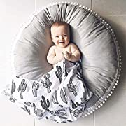 Olpchee Round Shape Kids Floor Pillow Seating Cushion Infant Newborn Seat Lounger for Floor, Baby Room Decor (Grey)