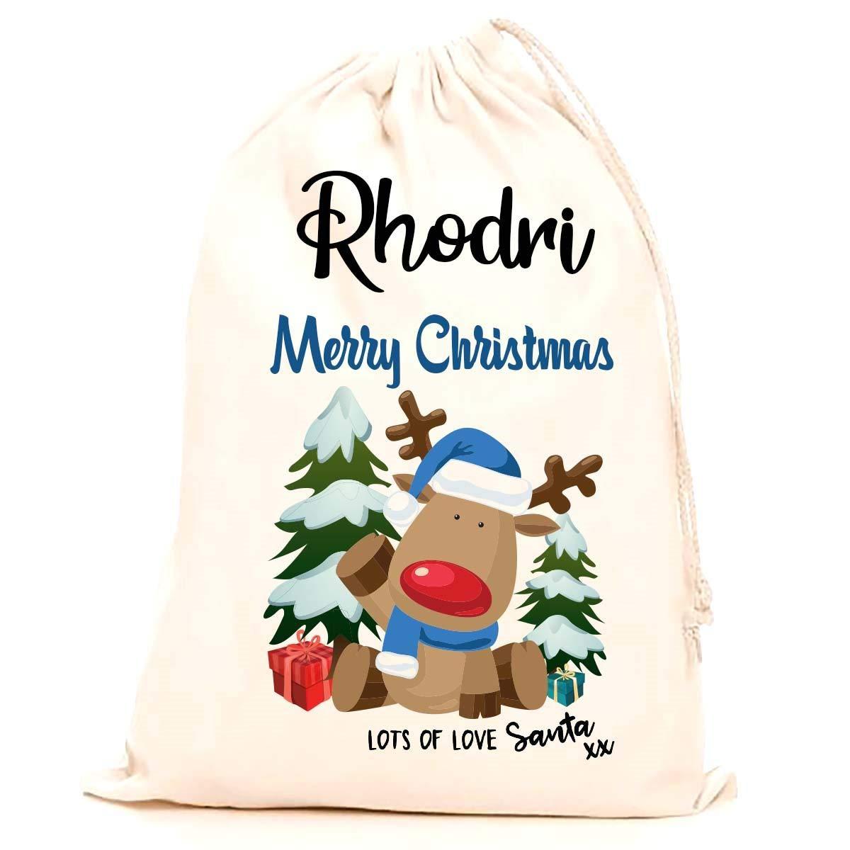 Children stocking printed with a blue reindeer 75x50cm 100/% Cotton Large Kids Treat Me Suite Rhodri personalised name Christmas santa sack making it the perfect keepsake xmas gift//present.