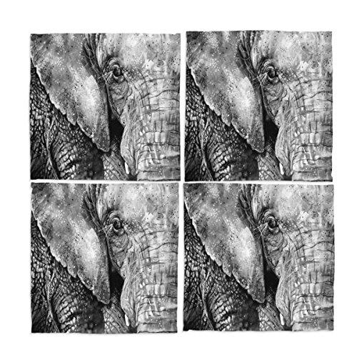 Ye Store Design Custom 4 Pieces Sumatran Elephant Cloth Napkins 12x12x4(in)