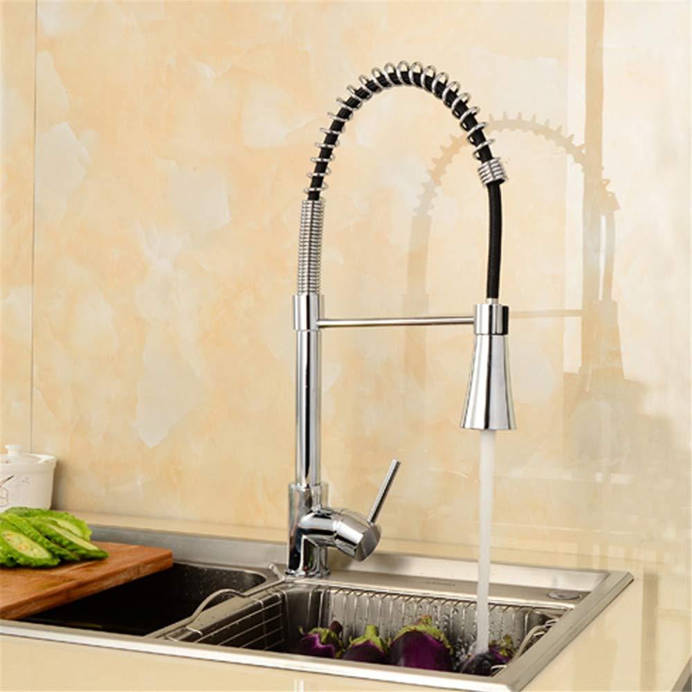 Küche Sink Taps, High & Multifunctional} Pull Out Kitchen Taps Pull Pull Pull Taps Mixers Spray Spring Chrome Brass Single Lever Weiß Mit Schläuchen
