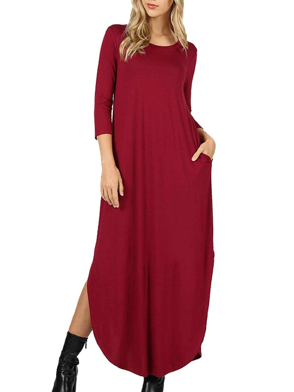 MixMatchy Womens 3//4 Sleeve Side Slit Long Maxi Dresses