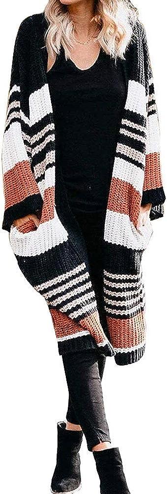 iMixCity Su/éter Tipo c/árdigan a Rayas de Punto Suelto para Mujer Frente Abierto Holgado c/ómodo Informal Estilo Largo Prendas de Vestir con Bolsillos