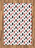 Casino Area Rug by Lunarable, Casino Poker Theme Pattern with Card Suits and Chips Fortune Wealth Luck Win, Flat Woven Accent Rug for Living Room Bedroom Dining Room, 4 x 6 FT, Red Black White