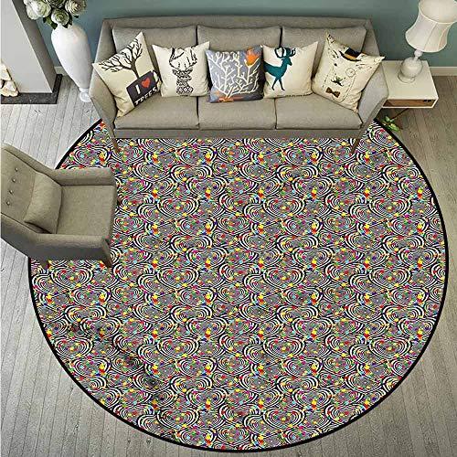 3' Round Bullseye - Bedroom Round Rugs,Hearts,Bullseye Love Symbols,Anti-Static, Water-Repellent Rugs,5'3