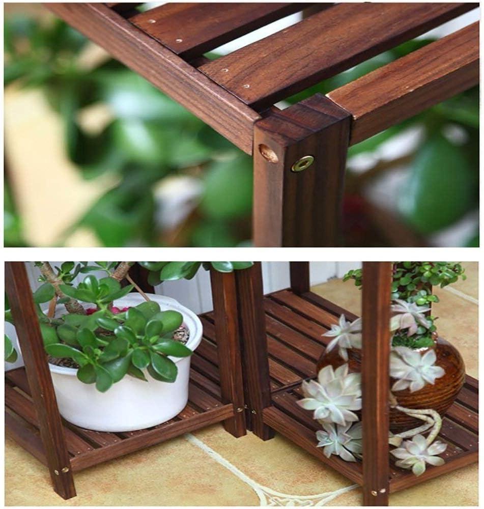 TYUIO Estante para estantes de 2/3 plantas Soporte para plantas Estantería de madera Estante de almacenamiento multiusos para uso general Estante de exhibición de bonsáis Patio al aire libre en el int: