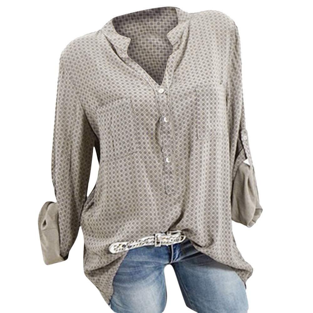 Qmber Damen Shirts Sweatshirts Pullover Tees Tops Oberteile Oversize Pulli Hoodie Elegant Hemden Langarm Blusen Tuniken, Fashion Plus Size Drucktaschen Knopf