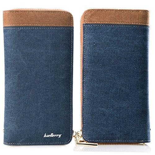 BYD Monedero Cartera de Embrague Hombre Canvas Casual Larga Billetera Grande Cartera De con cremallera y gran Capacidad y estilo lujoso azul