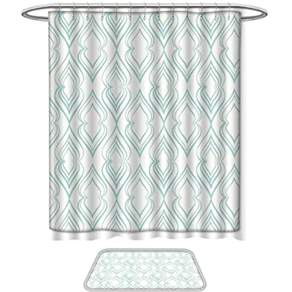 QINYAN Home Print Bathroom Rugs Shower Curtain Light Blue Abstract Pattern Of Curvy Lines In