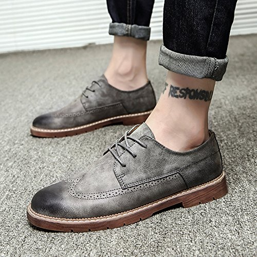 GUNAINDMX Spring and Autumn/casual/leather shoes/Martin shoes/wild/men's shoes, 41, gray