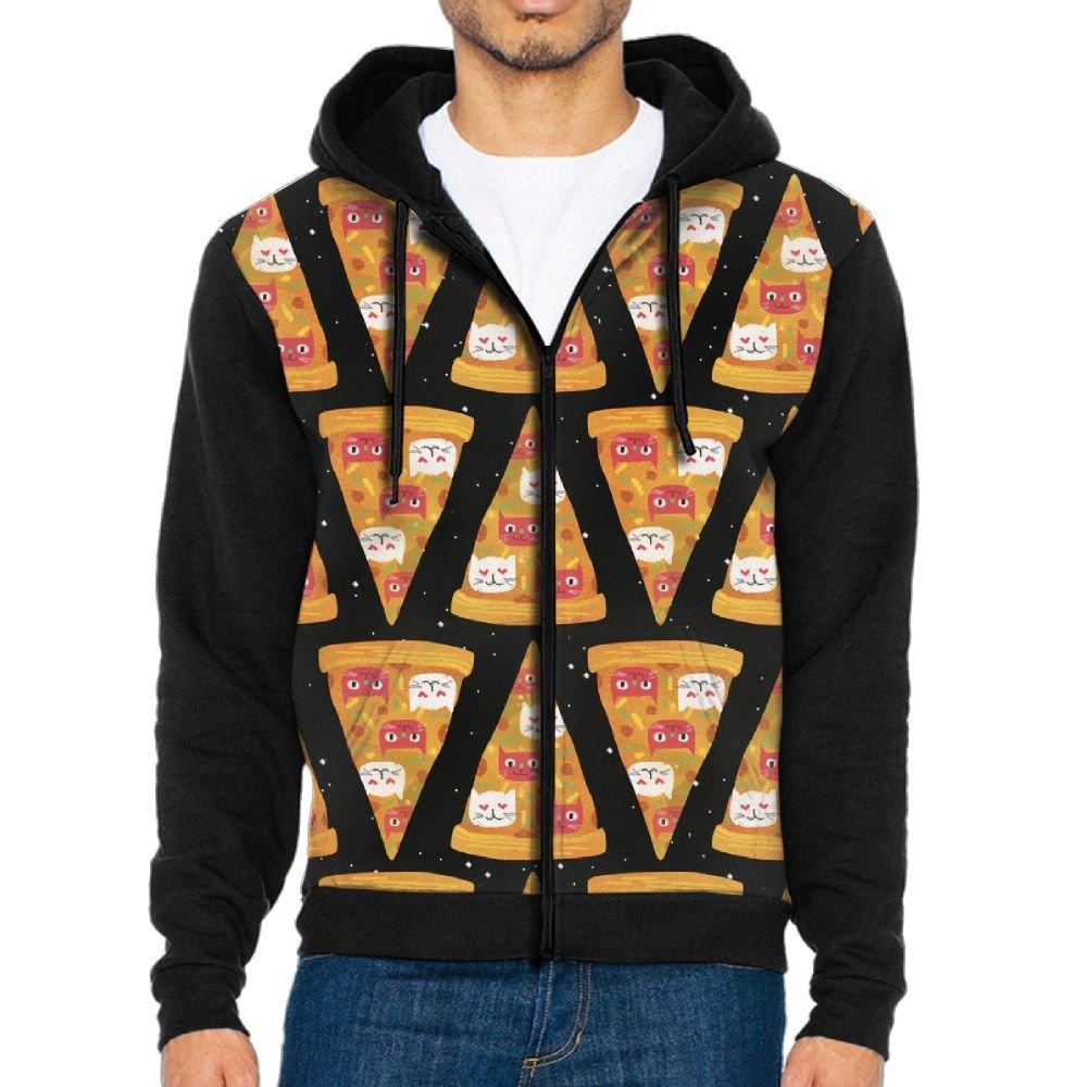 f69efde98b116c Black Men's Hoodie Pizza Cat Funny Full-zip Full-zip Full-zip Zipper Hooded  Casual Sweatshirt Jackets 15a952