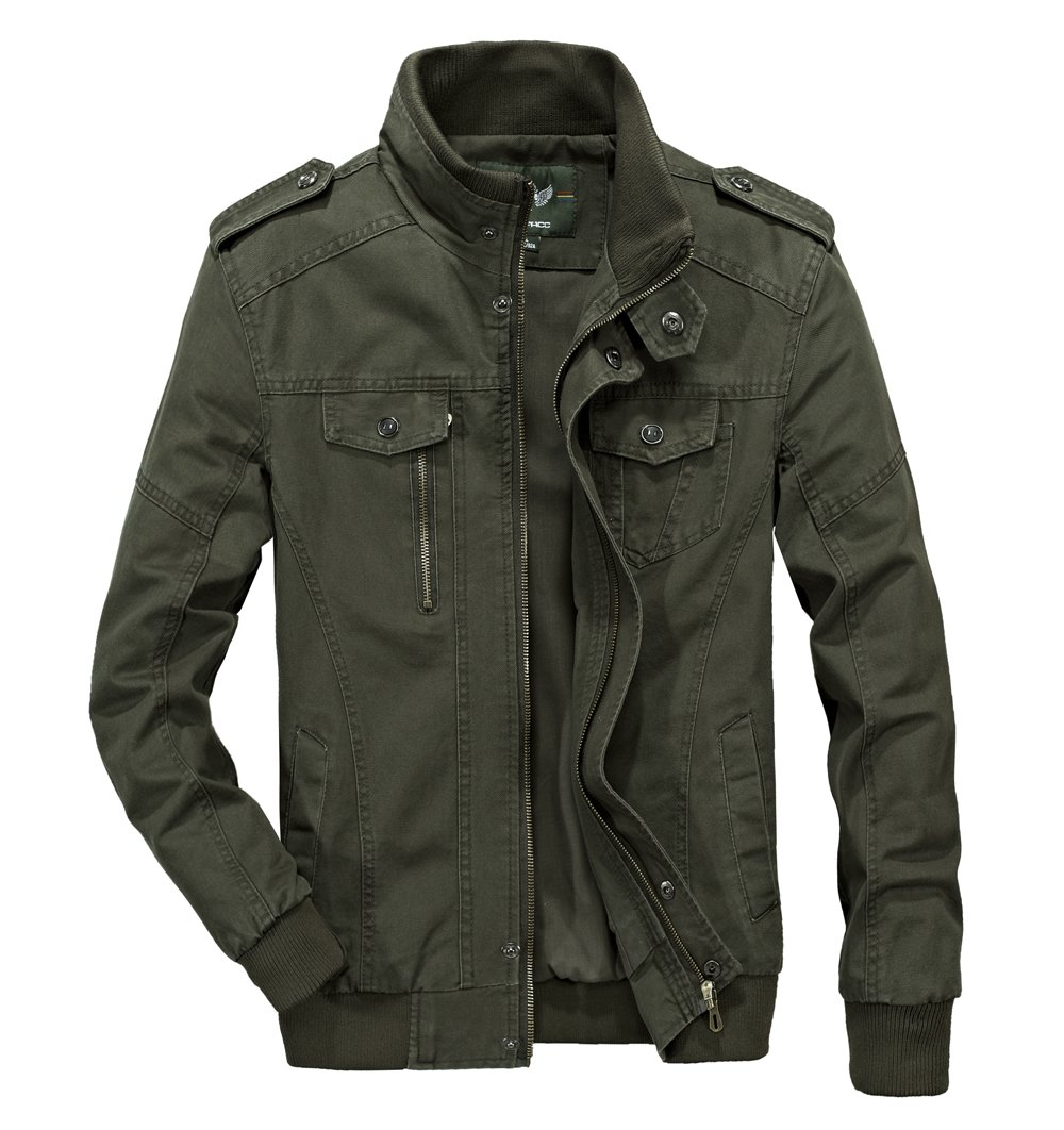 RongYue Men's Casual Cotton Military Jacket Outdoor Coat with Shoulder Straps Army Green by RongYue