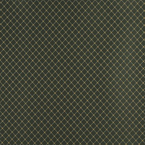 (D327 Hunter Green and Gold Diamond Jacquard Woven Upholstery Fabric by The Yard)