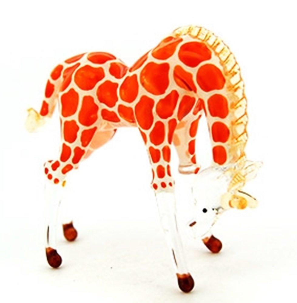 ランプワーク収集できるミニチュア手吹きアート ガラス小さいキリン、頭を下に、オレンジ色の置物 B00J3XQ0CC