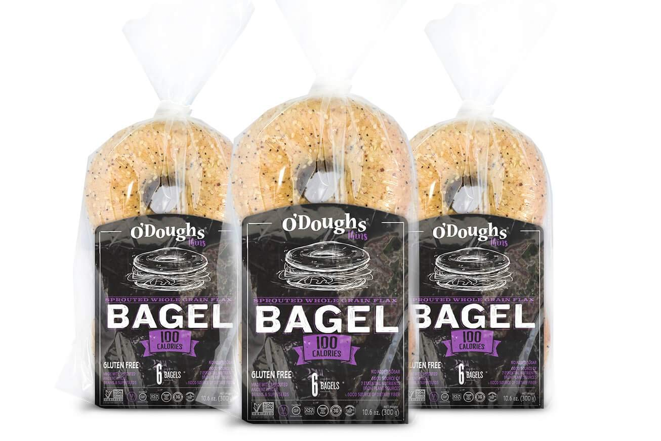 O'Dough Gluten Free Bagel Thins, Sprouted Whole Grain Flax, 100 Calorie Bagels, 10.58 Ounce [3 Packs] by O'Dough