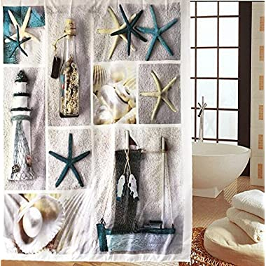 Sea World Fabric Shower Curtain Seashell and Sandy Beach (180*180, Starfish)