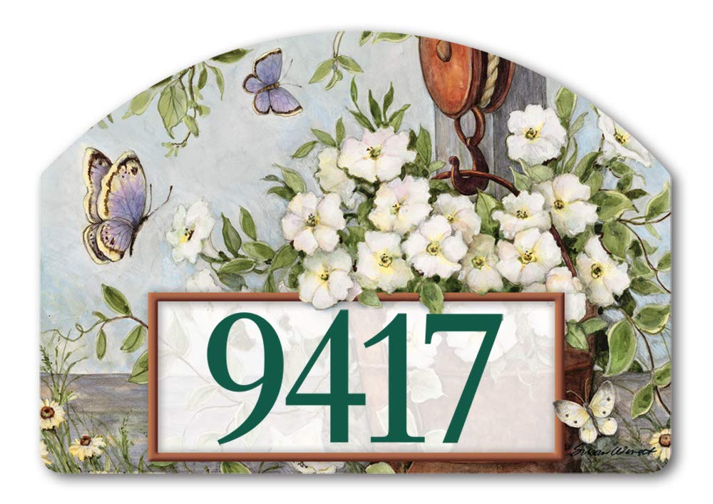 Yard DeSigns Studio M Petunias on Pulley Spring Summer Floral Decorative Address Marker Yard Sign Magnet, Made in USA, Superior Weather Durability, 14 x 10 Inches